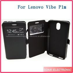 Wholesale Window View Flip Cover Case For Lenovo Vibe P1M, Wallet PU Leather Case For Lenovo Vibe P1M
