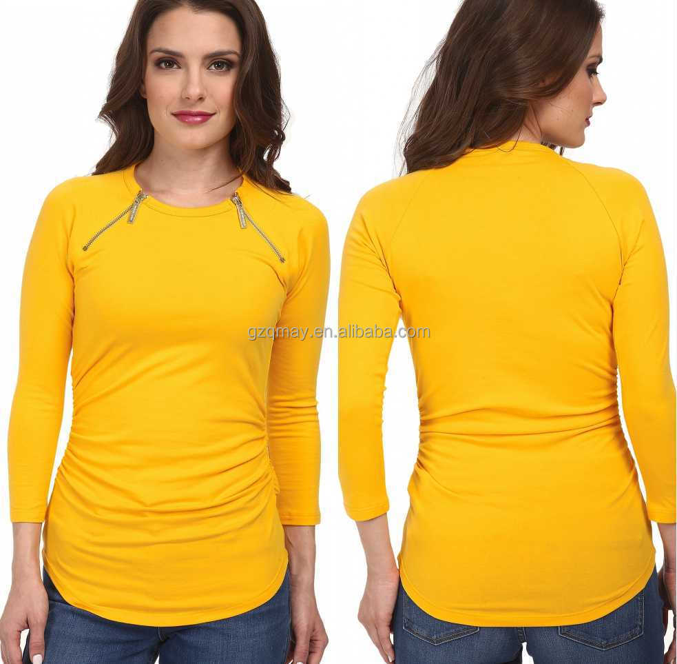 2016 new wholesale woman fashion blank 3 4 sleeves t for Cheap plain colored t shirts