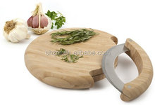Classic Bamboo Cutting Board With Curved Stainless Steel Blade Minces