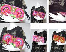 vtg HIPPIE BOHO thai hill hmong handmade embroidery floral Pouch bag clutch purse handbag