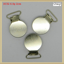 DC32 Factory Custom high quality round nickel free plated metal suspender clips