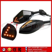 KCM24 BLACK MOTORCYCLE LED TURN SIGNALS REARVIEW Sport Bike MIRRORS For HONDA SUZUKI KAWASAKI YAMAHA