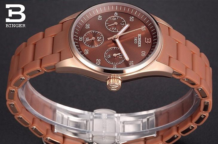 Повседневная Wine Red Женева Кварцевые часы Бингер женщины Аналоговые наручные часы Спорт Розовое Золото Дата Календарь 24 Часов часы Dropship