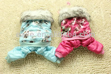 Winter and Autumn Snow Thick Warm Cotton Jacket Bronzing Mickey Four Legged Dog Clothes Blue and Rose F169