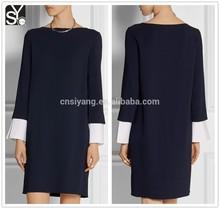 Para mujer otoño cuello barco manga larga vestido suelto, hasta la rodilla gaun diseños del vestido ocasional SYA15168