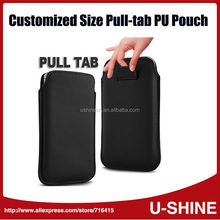 Custom Logo Pull Tab Pouch PU Leather Case For iPhone 6