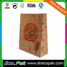 Fancy brown kraft grocery paper bag, hand take out paper bag
