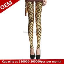 Fashion digital printing leggings Fish skin yellow star leggings 3d-Leggings pants of shin guards and feet