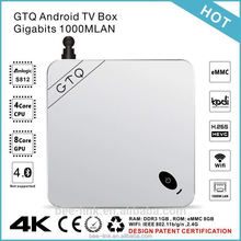 GTQ Metal Case TV Box Gigabit 1000M LAN Android TV Box Amlogic S812 2.4GHz/5.0GHz Dual Band Wifi OTT TV Box