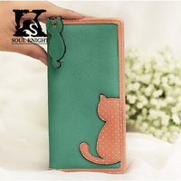 SK Girl's Fashion Lovely cow coated leather with pu leather wallet