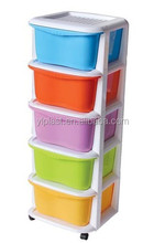 5 tier removable plastic storage drawer or cabinet with wheels