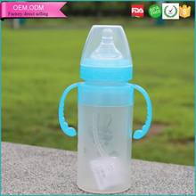 Long body 8 oz silicone milk baby bottle manufacture