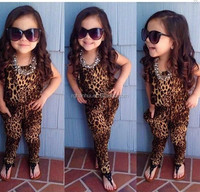 2015 New fashion girls casual short sleeve clothing set children leopard romper 1-piece clothing set