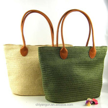 2015 Hand Knit Beach Resort solid color Handbag ,Fashion Crocheted Straw Hand Bags