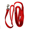 Handled Red Nylon Dog Leash 8ft Leash Plus Bonus Free Tag Soft Padded Handles One Inch Wide - 1 Dog 2 Handles