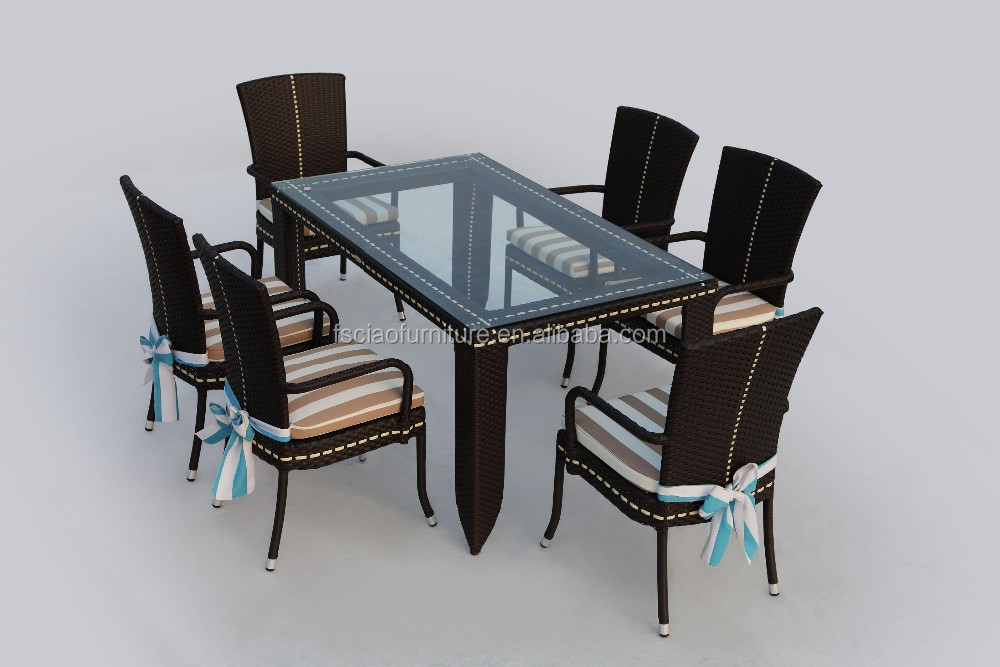 Dining used outdoor garden rattan party tables and chairs