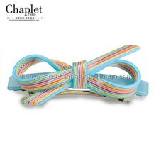 2015 New arrival rainbow hair bow hair accessories of hair barrette