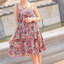Fashion Dresses 2015 Women Summer Strap Dresses Floral Backless Dress Casual Mini Cute Beach Dress