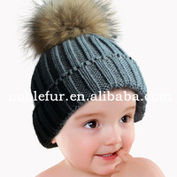new fashion lovely solid color wool fur pompom baby headwear