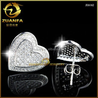 unique design for women lab diamonds micro pave sterling silver stud earrings