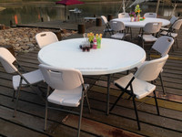 Rooms to go outdoor furniture plastic round folding table for party wedding banquet events(HQ-Y160)