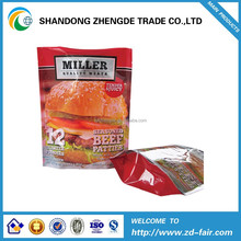 Stand up pouch with ziplock resealable printed bag for beef patties