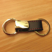 Classical metal and leather keychain with double key ring