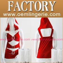moda sexy baratos rojo vestido de papá noel para la mujer