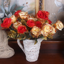 2015 New products for 10 heads artificial flower that look like rose,red velvet rose flower(AM-XR02)