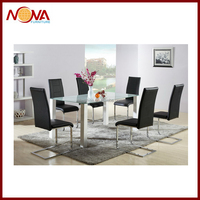 Modern wooden frame glass top dining table DT-291