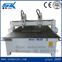 Computer controlled wood carving machine with double heads cnc router SKW-1825DL