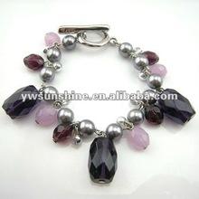 2012 fashion acrylic ball and stone bracelet