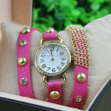 High quality wrap charm watch & diamond genuine leather watch strap for ladies
