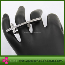 Silver Rhinestoned shaped thin cross rings,girlfriend gift!