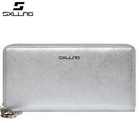 SXLLNS Women Long Wallet, genuine leather made with zipper closure