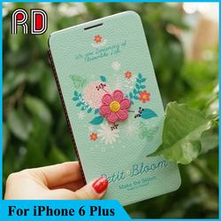 2015 Hot Selling Fashion Painting Flip Leather case for iPhone 6 Plus
