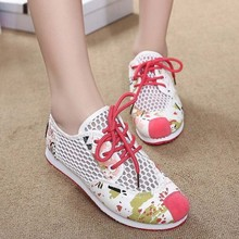 SAA6095 Women shoes sneakers 2015 casual fashion korean fancy mesh lace up ladies flat shoes