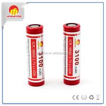 High quality mainifire icr18650 3.7v li-polymer 3100mah battery 18650 flat top battery