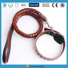 Brown Real Leather Collar and Braided Leashes Best Price Large Dog