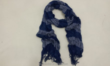Navy Grey Transverse Stripes Spring Scarf With Tassels Voile Scaves For Lady