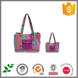 cute candy color canvas tote bag for college girl