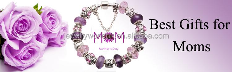 Bracelets, Vente chaude cadeau pour les femmes aiment la mode européenne bricolage perles de verre de Murano argent perle Charm Bracelet