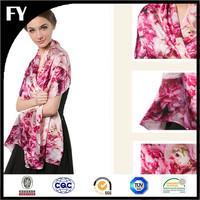 Custom digital printed 100 natural silk muslim cotton head scarf