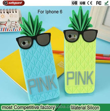 Lovely rubber silicone cell phone cover for iphone6 case Europe Discount Pineapple Design Case For Iphone 6