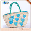 2015 Fashion Heart Shape Pattern Elegant Straw Beach Bag