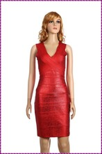 best price tight v neckline printed red sexy bandage real evening dress