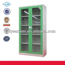 Latest classic metal hospital cabinet glass door