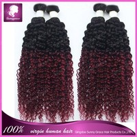 """New Arrival!Unprocessed Natural Hair 10""""-30"""" In Stock 2pcs/lot Ombre Curl Hair Weft Soft Smooth no Lice, no Dry, no Split"""