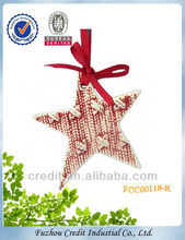 FCC00117-R Latest fashionable ceramic star Xmas tree hanging decorations