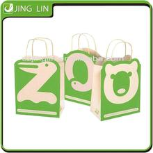 safe lovely blue green animal alphabet child cloth paper gift shopping bag